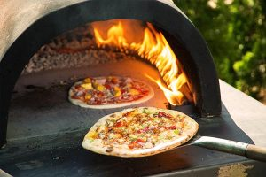 hot and ready wood fired pizza